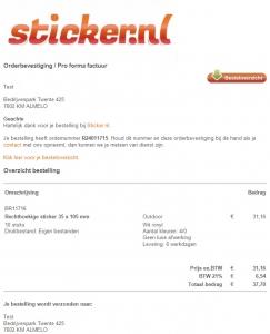 printscreen orderbevestiging