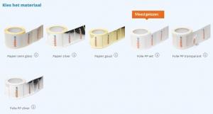 rollen stickers met meerdere materialen