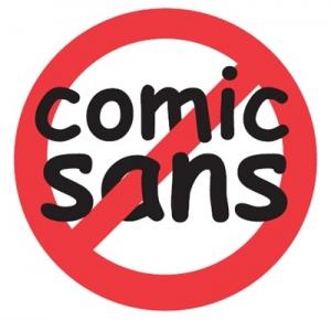 een rode streep door de tekst comic sans