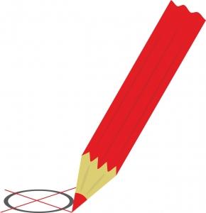 een rood potlood met een verkiezingsformulier