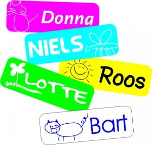 voorbeelden van naamstickers
