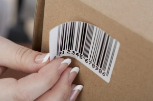 barcodesticker op een doos