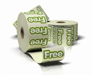 stickers met de tekst Free op een rol