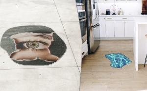 twee voorbeelden van vloerstickers