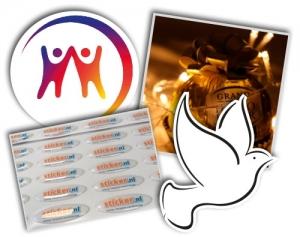 voorbeelden van logo's en stickers met logo