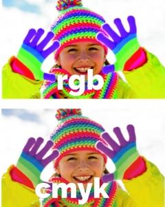 een afbeelding in rgb en een afbeelding in cmyk